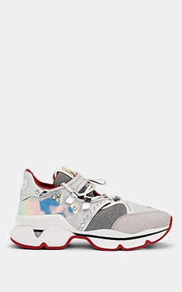 Christian Louboutin Women's Red Runner Donna Flat Sneakers - Silver