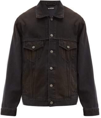 Balenciaga Signature Logo Embroidered Denim Jacket - Mens - Black Brown