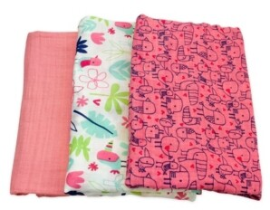 M·A·C Mac & Moon 3-Pack Floral and Bird Print Muslin Swaddles