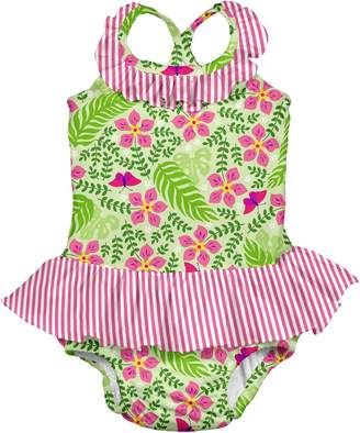 I Play I-Play Girls' One-Piece Ruffle Swimsuit with Built-In Reusable Absorbent Swim Diaper
