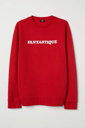 H&M Sweatshirt with Printed Design - Red