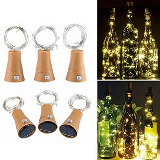 6 Pack Warm White Solar Powered Wine Bottle Lights with Cork