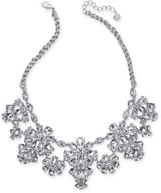 "Charter Club Silver-Tone Crystal Cluster Statement Necklace, 17"" + 2"" extender"