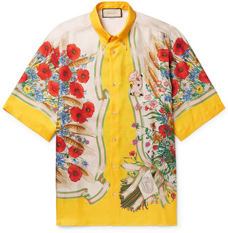 Gucci Button-Down Collar Embroidered and Printed Silk-Satin Shirt - Men - Yellow