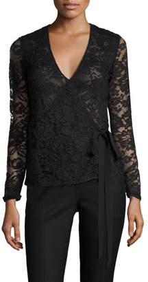 Sachin + Babi Moira Long-Sleeve Lace Wrap Top