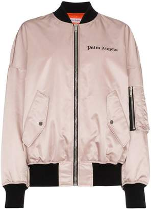 Palm Angels pink satin oversized bomber