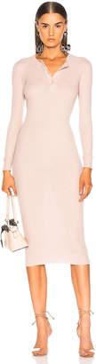 Enza Costa Cashmere Long Sleeve Henley Midi Dress