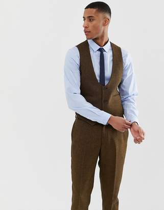 Asos Design DESIGN wedding slim suit waistcoats in tan wool mix twill