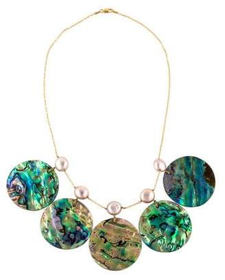 18K Pearl & Abalone Shell Necklace