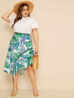 953329fc067 Shein Plus Asymmetrical Hem Tropical Print Skirt