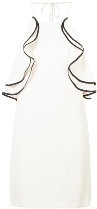 Halston frilled fitted dress