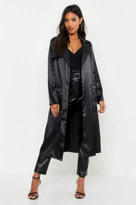 boohoo Satin Utility Belted Trench Coat