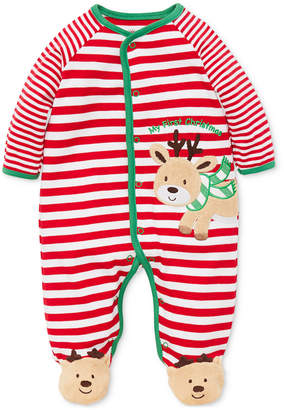 Little Me Baby Boys Striped Reindeer Footed Coverall