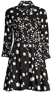 Maje Women's Rafi Daisy Print Belted Shirtdress