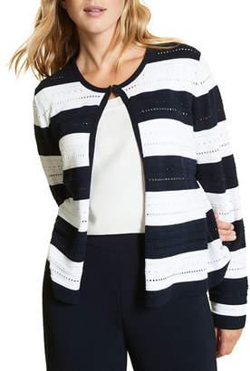 Marina Rinaldi Mais Stripe Cotton Cardigan