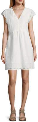 City Triangle Short Sleeve Drop Waist Dress-Juniors