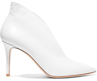 Gianvito Rossi Vania 85 Leather Ankle Boots - White