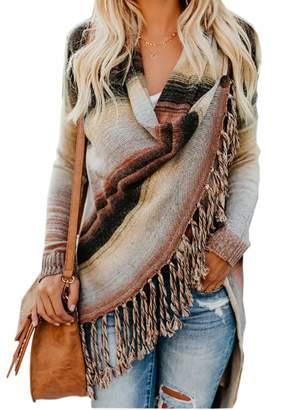 WO-STAR Women Slash Tassel Irregular Hem Knit Cowl Neck Cardigans Sweaters Shawl Tops L