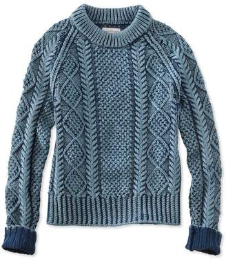 L.L. Bean L.L.Bean Signature Cotton Fisherman Sweater, Washed