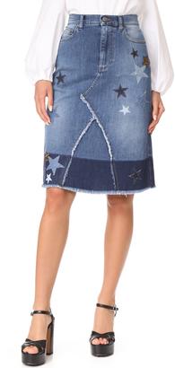 RED Valentino Star Denim Skirt $675 thestylecure.com