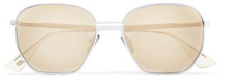Le Specs - Ottoman Square-frame Silver-tone Mirrored Sunglasses - Gold $120 thestylecure.com