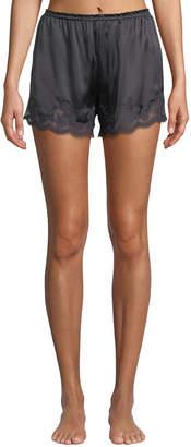 Vivis Kira Lace-Trim Silk Tap Shorts