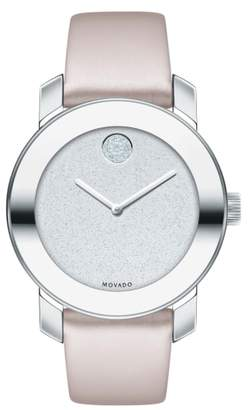 Movado Bold Leather Strap Watch, 36mm