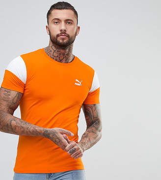 Puma Panel T-Shirt In Muscle Fit In Orange Exclusive To ASOS