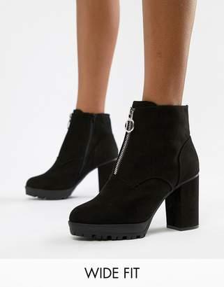 New Look Wide Fit Suedette Zip Through Heeled Boot