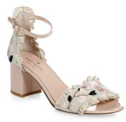 Kate Spade Wayne Floral-Embroidered Linen& Patent Leather Slingback Heels