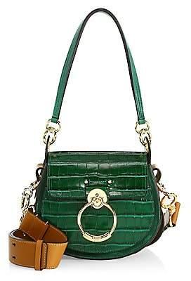 Chloé Women's Tess Croc-Embossed Leather Saddle Bag