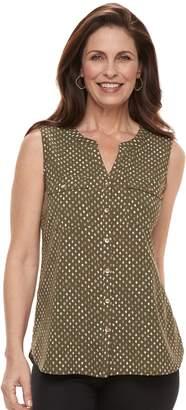 Croft & Barrow Women's Sleeveless Henley Shirt