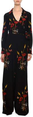 Valentino Tie-Waist Wide-Leg Floral-Meadow Silk Crepe de Chine Jumpsuit