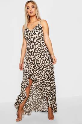 boohoo Plus Leopard Ruffle Hem Maxi Dress