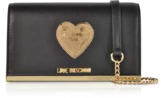 Love Moschino Sequin Heart Eco Leather Clutch w/Chain Strap