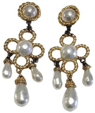 Gold-Tone Pearl Large Chandelier Dangle Drop Clip-On Earrings