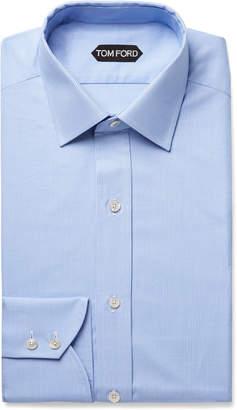 Tom Ford Light-Blue Slim-Fit Puppytooth Cotton Shirt - Men - Blue