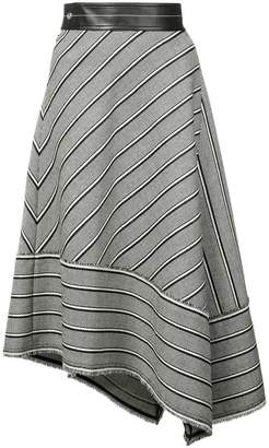Helmut Lang striped asymmetric skirt