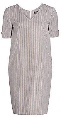Piazza Sempione Women's V-neck Striped Shift Dress