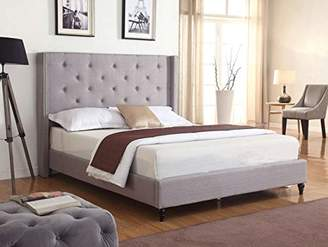 """LIFE Home Premiere Classics Cloth Light Grey Silver Linen 51"""" Tall Headboard Platform Bed with Slats King - Complete Bed 5 Year Warranty Included"""