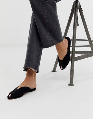 Asos Design DESIGN Lido peep toe ballet flats in black