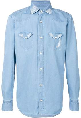 Eleventy stitch detail denim shirt