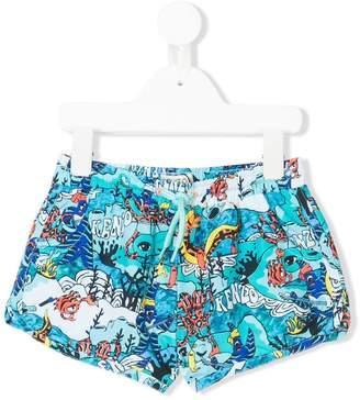 Kenzo logo sea creature printed swim shorts