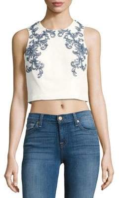 Marchesa Beaded Embroidered Cropped Top