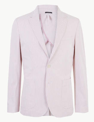 Marks and Spencer Striped Tailored Fit Cotton Jacket