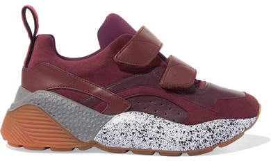 Stella McCartney - Eclypse Neoprene-trimmed Faux Leather And Suede Sneakers - Burgundy
