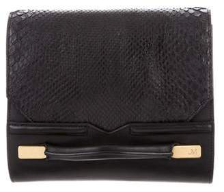 J. Mendel Python-Accented Leather Clutch