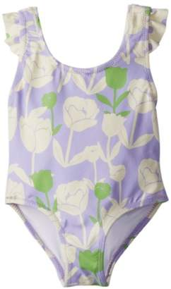 Hatley Girl's Bow One Piece Bathing Suit Spring Blooms Floral Swimsuit