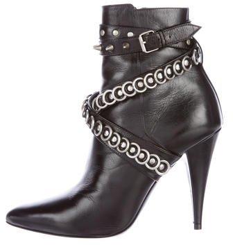 Saint LaurentSaint Laurent Leather Pointed-Toe Booties