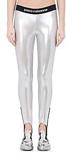 Paco Rabanne Women's Logo Lamé Stirrup Leggings - Silver